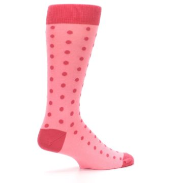 Image of Flamingo Guava Polka Dot Groomsmen Wedding Men's Dress Socks (side-1-23)