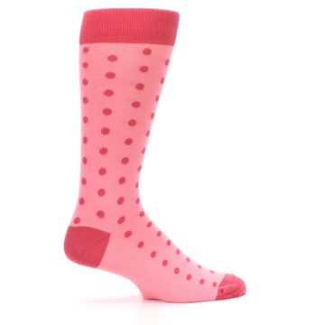 Image of Flamingo Guava Polka Dot Groomsmen Wedding Men's Dress Socks (side-1-24)
