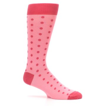 Image of Flamingo Guava Polka Dot Groomsmen Wedding Men's Dress Socks (side-1-25)