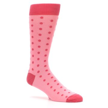 Image of Flamingo Guava Polka Dot Groomsmen Wedding Men's Dress Socks (side-1-26)