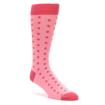 Image of Flamingo Guava Polka Dot Groomsmen Wedding Men's Dress Socks (side-1-27)