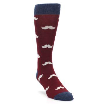 Image of Burgundy Navy Mustache Men's Dress Socks (side-1-front-02)