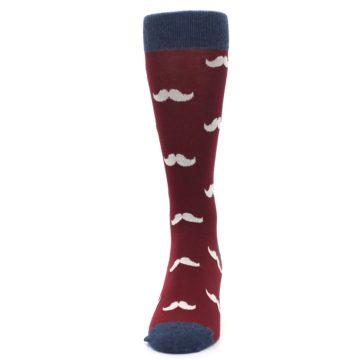 Image of Burgundy Navy Mustache Men's Dress Socks (front-05)