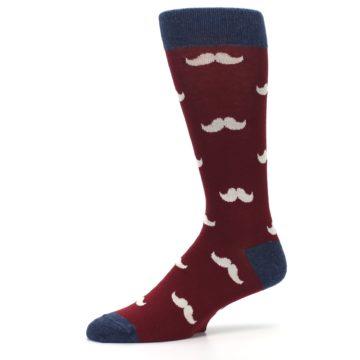 Image of Burgundy Navy Mustache Men's Dress Socks (side-2-10)