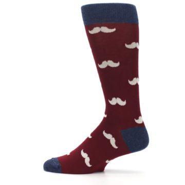 Image of Burgundy Navy Mustache Men's Dress Socks (side-2-12)