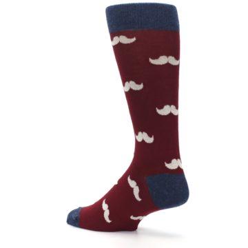 Image of Burgundy Navy Mustache Men's Dress Socks (side-2-back-14)