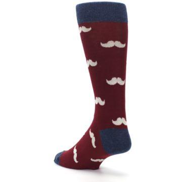 Image of Burgundy Navy Mustache Men's Dress Socks (side-2-back-15)