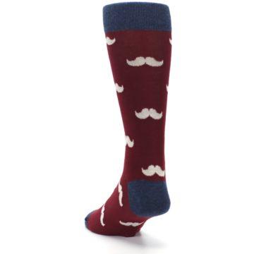 Image of Burgundy Navy Mustache Men's Dress Socks (side-2-back-16)
