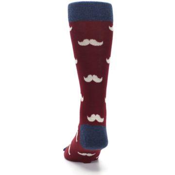 Image of Burgundy Navy Mustache Men's Dress Socks (back-17)