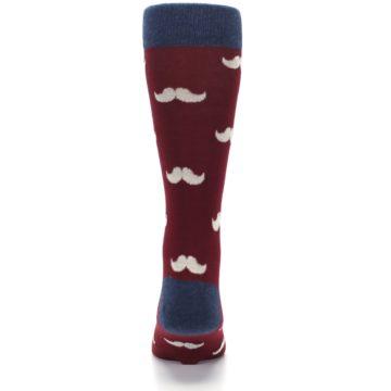 Image of Burgundy Navy Mustache Men's Dress Socks (back-18)