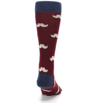 Image of Burgundy Navy Mustache Men's Dress Socks (back-19)