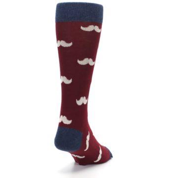 Image of Burgundy Navy Mustache Men's Dress Socks (side-1-back-20)
