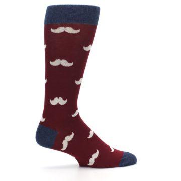 Image of Burgundy Navy Mustache Men's Dress Socks (side-1-24)