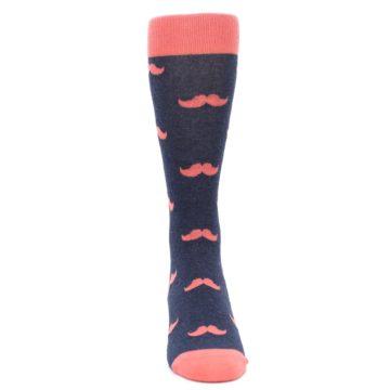 Image of Coral Navy Mustache Groomsmen Wedding Men's Dress Socks (front-04)