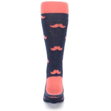 Image of Coral Navy Mustache Groomsmen Wedding Men's Dress Socks (back-18)