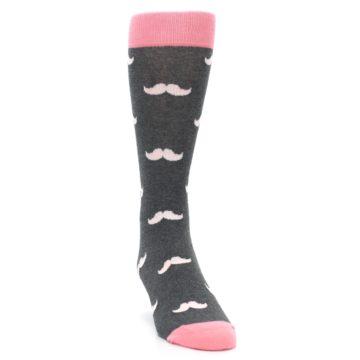 Image of Petal Flamingo Pink Gray Mustache Groomsmen Wedding Men's Dress Socks (side-1-front-03)