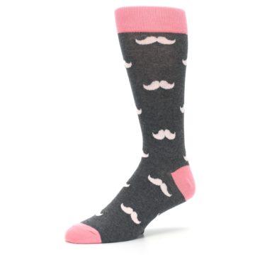 Image of Petal Flamingo Pink Gray Mustache Groomsmen Wedding Men's Dress Socks (side-2-09)