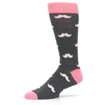 Image of Petal Flamingo Pink Gray Mustache Groomsmen Wedding Men's Dress Socks (side-2-10)