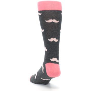 Image of Petal Flamingo Pink Gray Mustache Groomsmen Wedding Men's Dress Socks (side-2-back-16)