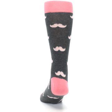 Image of Petal Flamingo Pink Gray Mustache Groomsmen Wedding Men's Dress Socks (back-17)