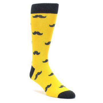 Image of Golden Yellow Gray Mustache Groomsmen Wedding Men's Dress Socks (side-1-front-01)