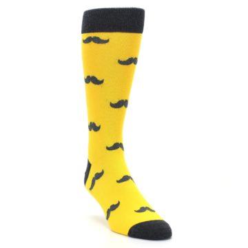 Image of Golden Yellow Gray Mustache Groomsmen Wedding Men's Dress Socks (side-1-front-02)