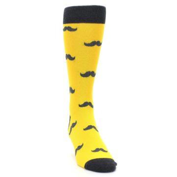 Image of Golden Yellow Gray Mustache Groomsmen Wedding Men's Dress Socks (side-1-front-03)