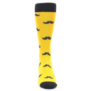Image of Golden Yellow Gray Mustache Groomsmen Wedding Men's Dress Socks (front-04)