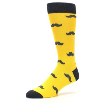 Image of Golden Yellow Gray Mustache Groomsmen Wedding Men's Dress Socks (side-2-09)