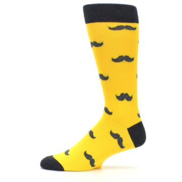 Image of Golden Yellow Gray Mustache Groomsmen Wedding Men's Dress Socks (side-2-11)