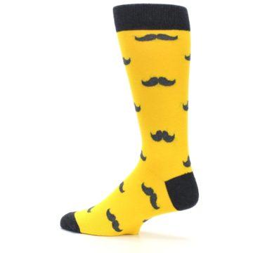 Image of Golden Yellow Gray Mustache Groomsmen Wedding Men's Dress Socks (side-2-13)