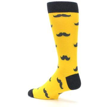 Image of Golden Yellow Gray Mustache Groomsmen Wedding Men's Dress Socks (side-2-back-14)