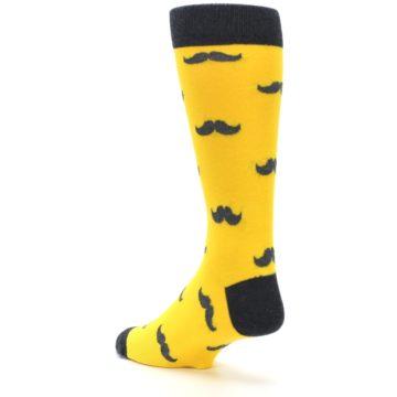 Image of Golden Yellow Gray Mustache Groomsmen Wedding Men's Dress Socks (side-2-back-15)