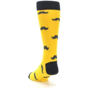 Image of Golden Yellow Gray Mustache Groomsmen Wedding Men's Dress Socks (side-2-back-16)