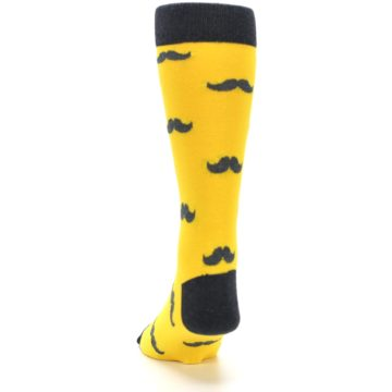Image of Golden Yellow Gray Mustache Groomsmen Wedding Men's Dress Socks (back-17)