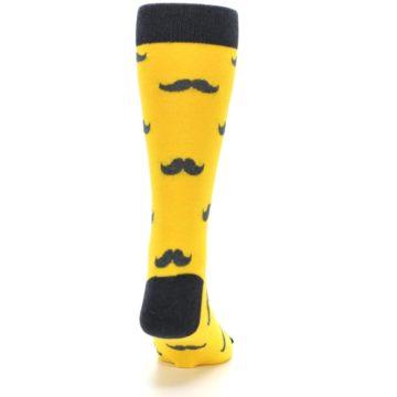 Image of Golden Yellow Gray Mustache Groomsmen Wedding Men's Dress Socks (back-19)