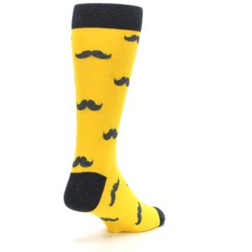 Image of Golden Yellow Gray Mustache Groomsmen Wedding Men's Dress Socks (side-1-back-21)
