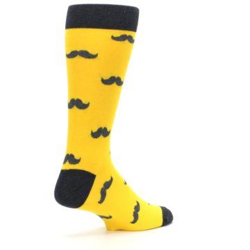 Image of Golden Yellow Gray Mustache Groomsmen Wedding Men's Dress Socks (side-1-back-22)
