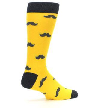 Image of Golden Yellow Gray Mustache Groomsmen Wedding Men's Dress Socks (side-1-23)
