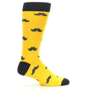 Image of Golden Yellow Gray Mustache Groomsmen Wedding Men's Dress Socks (side-1-24)