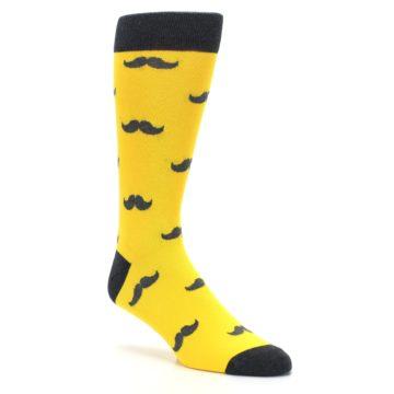 Image of Golden Yellow Gray Mustache Groomsmen Wedding Men's Dress Socks (side-1-27)