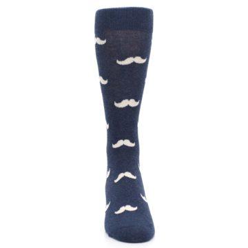 Image of Heathered Navy Mustache Groomsmen Wedding Men's Dress Socks (front-04)
