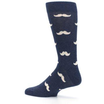 Image of Heathered Navy Mustache Groomsmen Wedding Men's Dress Socks (side-2-13)