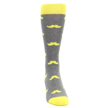 Image of Lemon Yellow Gray Mustache Groomsmen Wedding Men's Dress Socks (front-04)