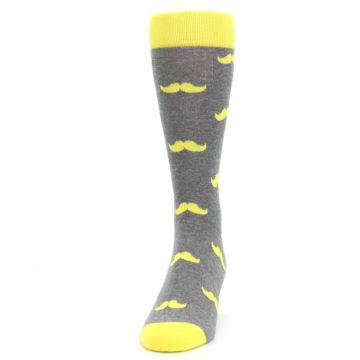 Image of Lemon Yellow Gray Mustache Groomsmen Wedding Men's Dress Socks (side-2-front-06)