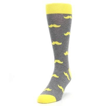 Image of Lemon Yellow Gray Mustache Groomsmen Wedding Men's Dress Socks (side-2-front-07)