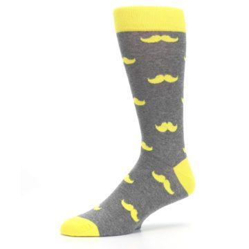 Image of Lemon Yellow Gray Mustache Groomsmen Wedding Men's Dress Socks (side-2-10)