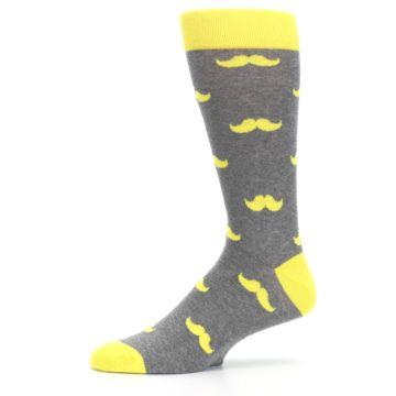 Image of Lemon Yellow Gray Mustache Groomsmen Wedding Men's Dress Socks (side-2-11)