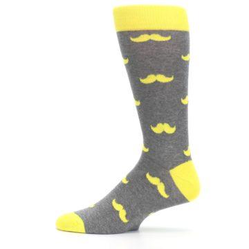 Image of Lemon Yellow Gray Mustache Groomsmen Wedding Men's Dress Socks (side-2-12)