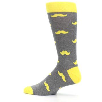 Image of Lemon Yellow Gray Mustache Groomsmen Wedding Men's Dress Socks (side-2-13)